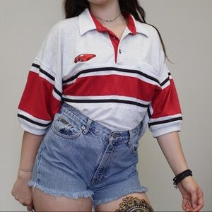 Vintage 1990s red striped polo shirt🚘